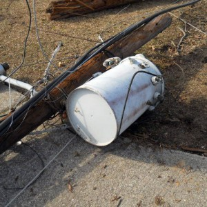 Image of a downed transformer that One Stop Environmental removed while performing disaster relief.