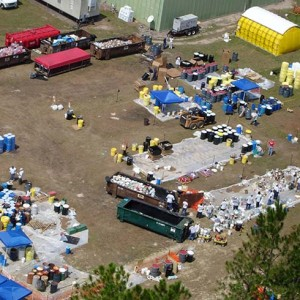 Image of a mobilization site for disaster relief following Hurricane Katrina.