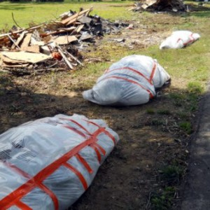 Image of bagged hazardous waste following the 2011 Alabama tornados.