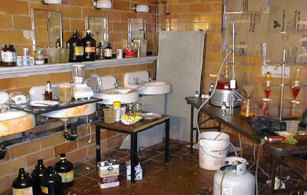 Image of a drug lab prior to One Stop performing waste characterization and hazardous waste cleanup.