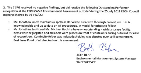Image of a letter of praise for One Stop Environmental operation and management of Fort Rucker's Hazardous Material Control Center.