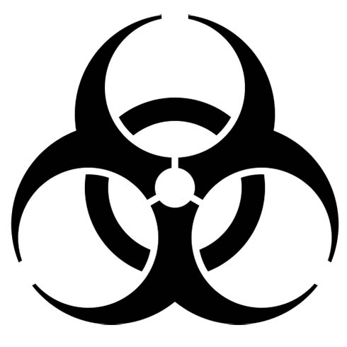 Image of the biohazard symbol. One Stop offers biohazard cleanup services